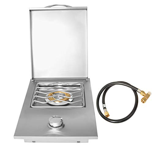 Stanbroil Outdoor Grill Drop-in Gas Single Side Grill Burner, Built-in Side Grill Burner for Natural Gas - Stainless Steel