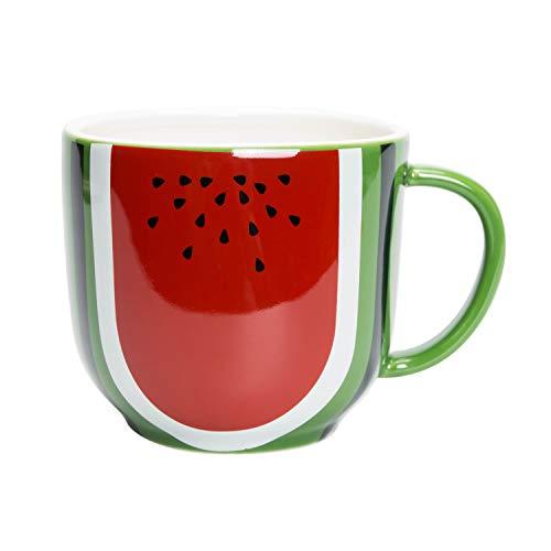 el & groove Anguria Tazza 3D in Rosso Verde in Porcellana di Alta qualità, Tazza caffè/Tea 450 ml, Idea Regalo per Vegetariani Vegani