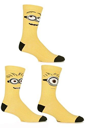 SockShop Herren 3 Paar Despicable Me Minions Gesichter Socken aus Baumwolle 12-13,5 Gelb