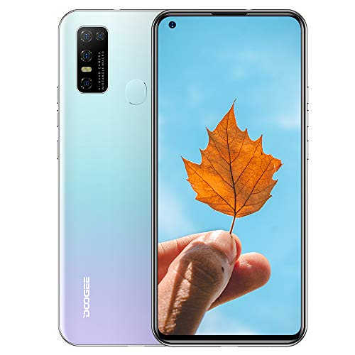 DOOGEE N20 (2020) Dual SIM 4G móviles, 6.55' FHD + Pantalla Smartphones Libres Android 10 4GB RAM 128GB ROM, Cámara 16 MP + 8 MP + 8 MP, 4180 mAh - Blanco