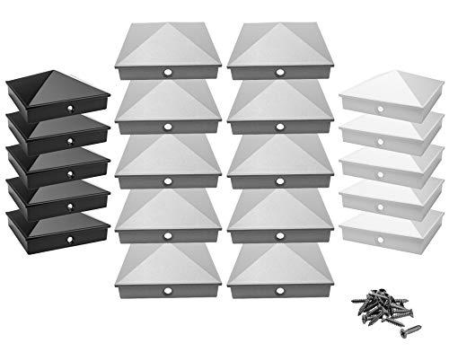 Pfostenkappen 9x9 cm aus hochwertigem Aluminiumguss | 5er / 10er Pack pulverbeschichtet in 3 Farben | Rostfrei | mit Edelstahl-Schrauben | Pyramide | Abdeckkappe/Zierkappe | (10, Silber)
