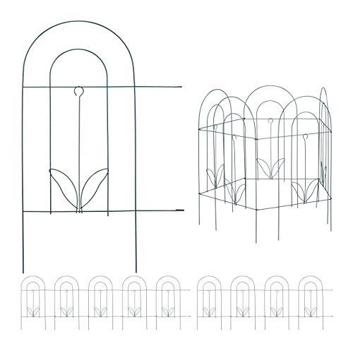 10 TLG. Beetzaun, Beetumrandung für Garten, Dekozaun aus Metall, zum Stecken, Rasenzaun, HxB: 62 x 488 cm, grün