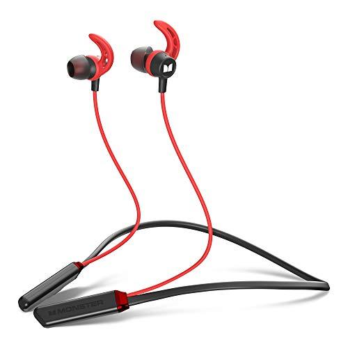 Monster iSport Bluetooth Kopfhörer, In-Ear Sport kopfhörer mit Bluetooth 5.0, 10 Stunden Wiedergabezeit, HD Mikrofon, IPX5 Wasserschutzklasse, Magnetische Ohrhörer (Rot)