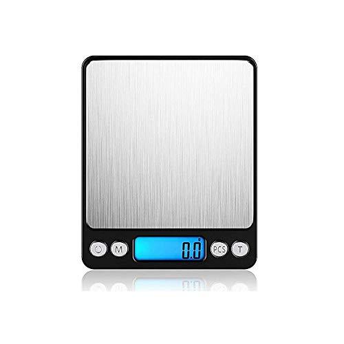 LDH Balanza de Cocina Digital de Servicios - Escala Fina, Escala de Bolsillo, balanza Digital - Balanza electrónica Profesional con LCD Display Iluminado, 3 kg / 0,1 g de Capacidades |Negro