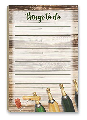 Rustic Wine To Do List Notepad with Magnet - 8.5' x 5.5' - Grocery, Shopping, Daily Tasks List - Rustic Barnwood (Rustic Wine)