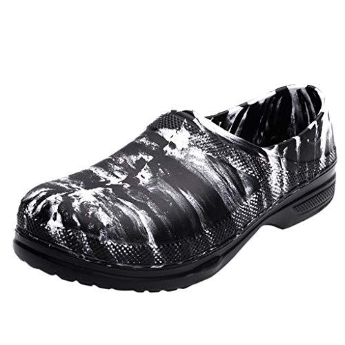 Alwayswin Männer wasserdichte ölbeständige Arbeitsschuhe Runde Zehen Beleg auf Chef Arbeitsschuhen Freizeit Normallack Slipper Slip-On Lederschuhe Einzelne Schuhe Freizeitschuhe