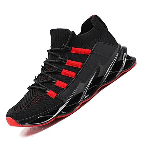 QBLDX Senderismo Zapatos para Caminar para Hombre Trekking Zapatos de Escalada Al Aire Libre Ligero Tiro Bajo Cordones Antideslizante Mochila Camping Ciclismo Zapatillas Deportivas Correr,Red-6UK