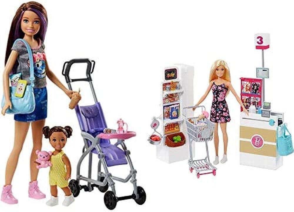 Barbie babysitter ,bebe` e passeggino playset con bambola skipper e accessori Fjb00