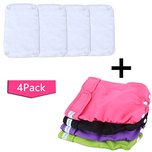 Teamoy Reusable Female Dog Diapers with Removable Pads(Pack of 4), Washable Doggie Diaper Wraps for Female Dogs, Super-Absorbent, Comfortable and Stylish, L1