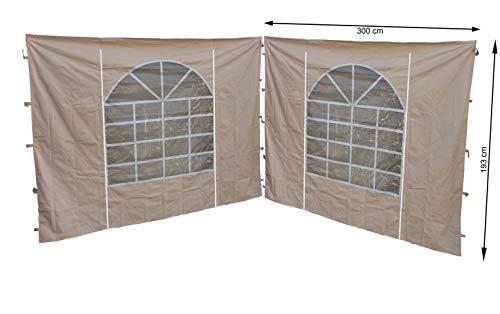 QUICK STAR 2 Seitenteile mit PVC Fenster 300x195cm für Pavillon Sahara 3x3m Seitenwand Sand