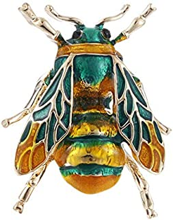 7ab9d8f4012 Vintage Enamel Bee Brooch Pin Shirt Animal Metal Pin Clothing Accessories  Chic (Color - Green