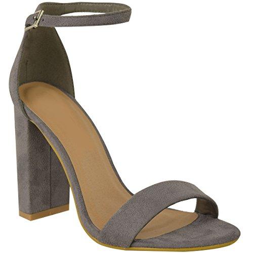 Fashion Thirsty Damen Block Absatz Knöchelriemen Sexy Offene Zehen Sandalen Schuh Größe Neu - Grau Kunstwildleder, 40