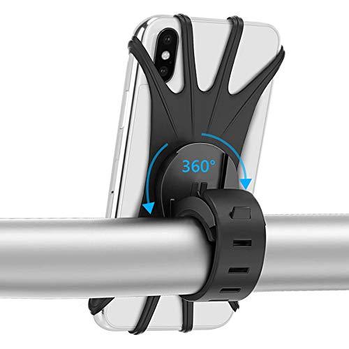 Universal Soporte Movil Bicicleta - HOMPO Soporte Manillar de Silicona con Rotación 360 para iPhone, Samsung y Otros Dispositivos
