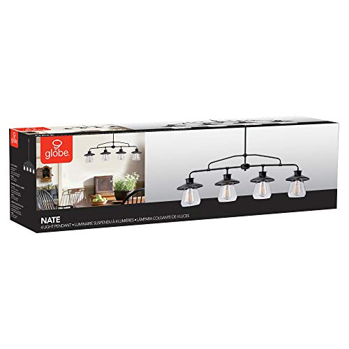 Globe Electric 65382 Nate 4-Light Pendant, Oil Rubbed Bronze, Clear Glass Shades