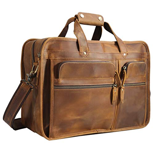 "Polare Modern Messenger Bag for Men 17"" Laptop Briefcase Full Grain Leather with Premium YKK Zippers"