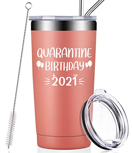 Quarantine Birthday 2021, Funny Social Distancing Gifts for Women, Men, Best Friends, Coworkers, Mom, Grandma, Sister, 21st 30th 40th 50th Quarantine Birthday Gifts, Vacuum Insulated Tumbler with Lid