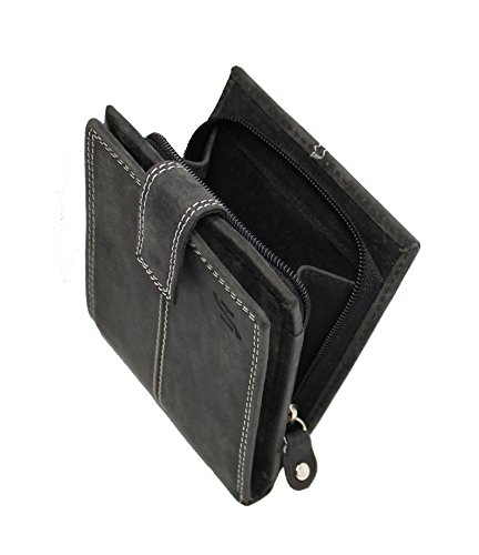 StarHide Mens Wallet RFID Safe Contactless Security Purse Distressed Hunter Leather with External Zip Round Coin Pocket 1044 (Matt Black)
