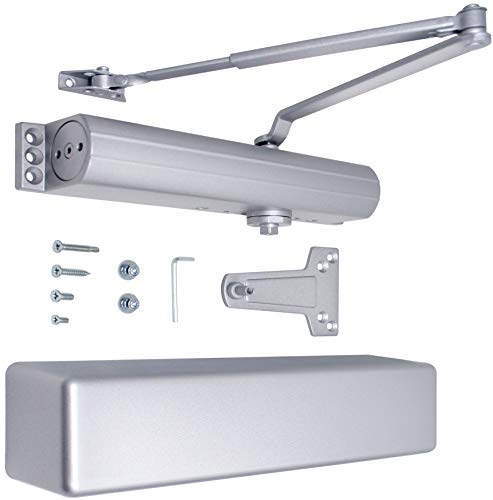 Commercial Door Closer Heavy Duty High Traffic Adjustable ANSI/BHMA Grade 1 Standard, UL Listed Automatic Closers Hydraulic Backcheck Delayed Action Latch Speed 2-6 Power (Aluminum)