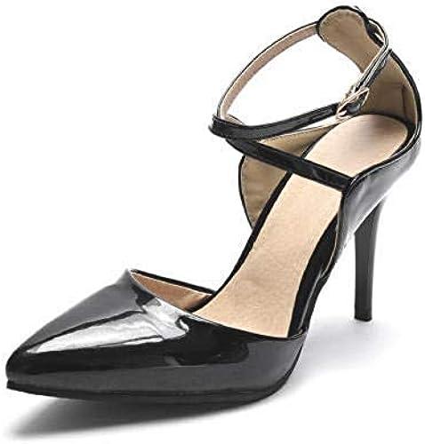 SPONSOKT Femmes Femmes européennes et américaines d'été en cuir verni nacré de 8,5 cm sexy pointu confortable mot boucle sandales à talons hauts Noir   33 de l'UE  en soldes
