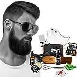 kit barbe - Kit entretien barbe complet et son coffret, Tablier de barbe + 1 peigne symétrique + huiles,baume,shampoing 60 ml + 1 paire de ciseaux et une serviette offert (Kit 10 pcs)
