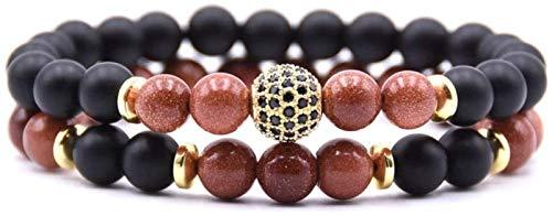 SUCICI Pulsera de Piedra Mujer, 7 Chakra Natural Golden Sandstone Bangle Brazalete Elástico Yoga Lucky Bracelet Zircon Bola de Oro Joyería para Damas Regalo de Pareja de Navidad
