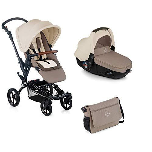 Jané Epic - Cochecito de bebe 2 piezas, silla de paseo y portabebé convertible matrix light 2, freno de mano, chasis de aluminio de 10 kg, plegado compacto, incluye bolso, unisex, color bronze