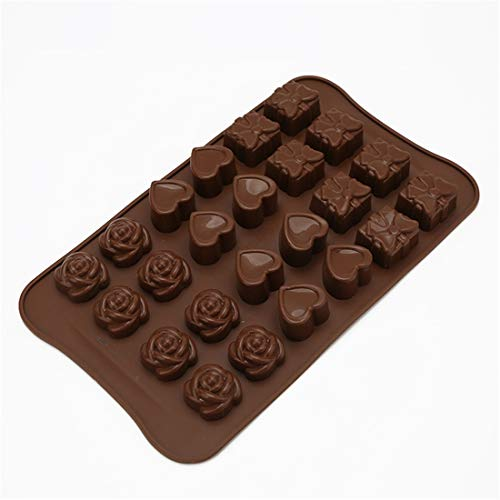 Silicone Chocolate Mould, Rose/Heart/Gift Box Shaped Non-Stick DIY Chocolate Fondant Cake Soap Wax Melt Candy Ice Cube Mould for Handmade Chocolate Pastry Dessert Baking Cake Decoration