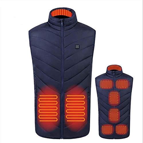 bjyxszd Beheizte Weste USB Wiederaufladbare, Wiederaufladbare Heizweste, elektrische Heizweste, Elegante, warme und selbstheizende Kleidung, kältefeste Damenjacke für den Winter-Blau_S.