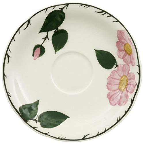 Villeroy und Boch - Wildrose Kaffee-Untertasse mit floralem Muster, Untertasse aus Premium Porzellan mit rosa Wildrose Dekor im Landhausstil, 16 cm