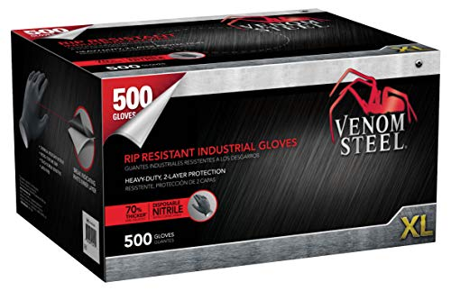Venom Steel VEN6544 Nitrile Gloves, Rip Resistant Disposable Latex Free Black Gloves, 2 Layer Gloves, 6 mil Thick, X-Large (Pack of 500)