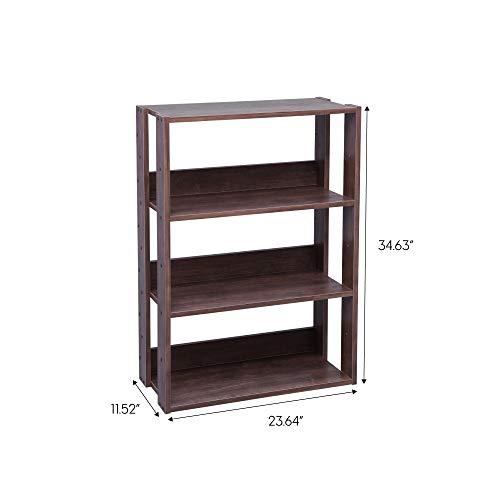 IRIS USA OWR-600BR 3-Shelf Wide Open Wood Shelving Unit, Brown
