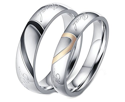 Daesar Stainless Steel Promise Rings for Women and Men Ring Silver Couple Rings Engraved Women J 1/2 & Men N 1/2