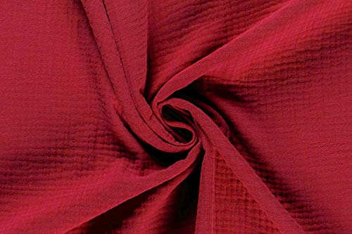 50cm Musselin-Stoff uni Meterware Oeko-Tex Mullstoff Mulltuch Baumwolle Farbwahl, Farbe:rot