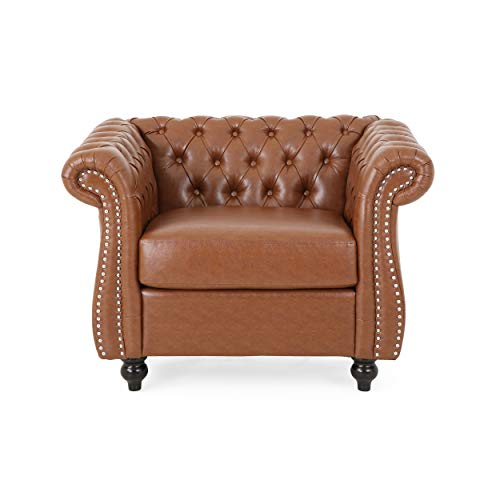 Christopher Knight Home Lucine Traditional Chesterfield Club Chair, Cognac Brown, Dark Brown