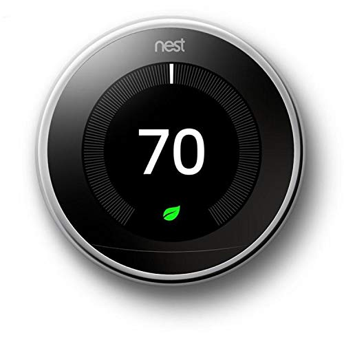 Google, T3019US, Nest Learning Thermostat, 3rd Gen, Smart Thermostat, Polished Steel, Works With Alexa