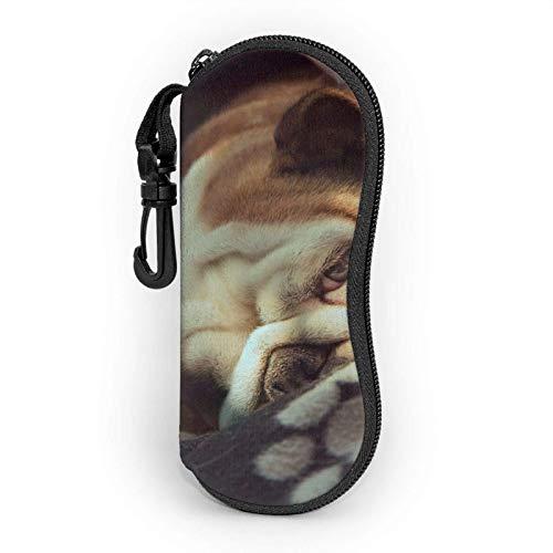 AOOEDM Estuche blando para gafas de sol con forma de corazón abstracto, Estuche para lentes con cremallera y clip para cinturón