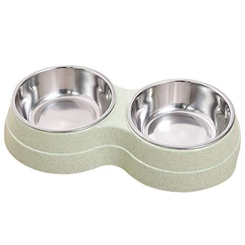 MJL Hundenapf Fressnapf Lebensmittel für Hunde und Katzen Edelstahl mit Rutschfester Hundenapf Doppel Napf Schüssel Haustier Wassernapf Doppel Napf Rutschfesten (Grün)