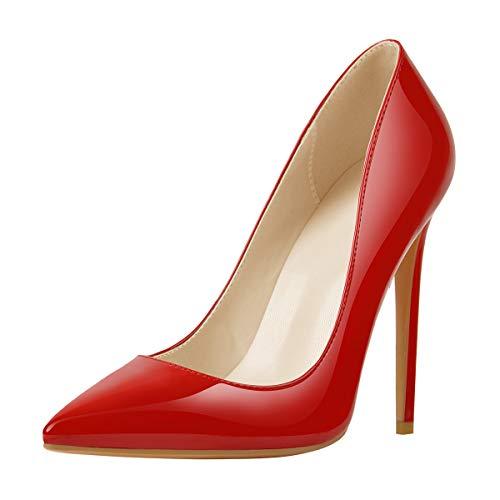 MissHeel Basic Pumps Damen Stilettos Klassische Absatzschuhe Rot High Heels Frauen Pfennigabsatz Rot EU 38
