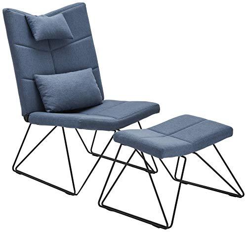 Ibbe Design Blau Bequem Ohrensessel Skandinavisch Fernsehsessel Patchwork Stoff Sessel mit Hocker und Kissen, Schwarz Metall Gestell, 65x85x100 cm