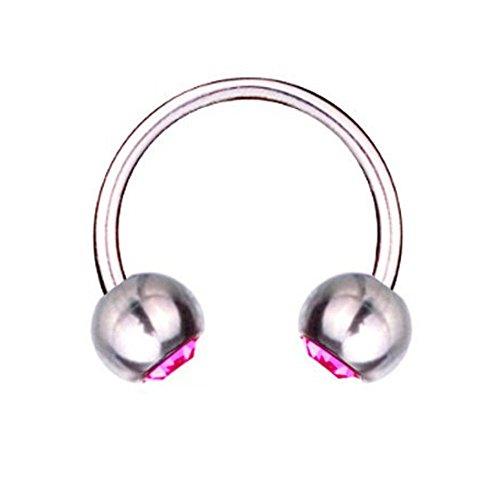 Piercing Barbell Circular de herradura de titanio de 1, 6, cristal de SWAROVSKI de color rosa
