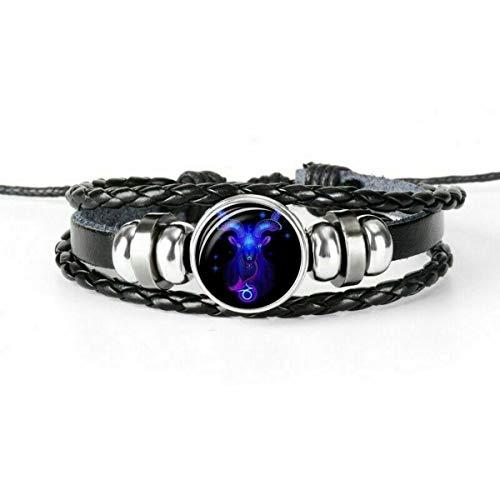 Brosco 12-Constellation Women Men Zodiac Bracelet Braided Leather Bracelet Gifts U Y3O1 Good Charm Fashion Accessories   Colors - Capricorn-Bracelet
