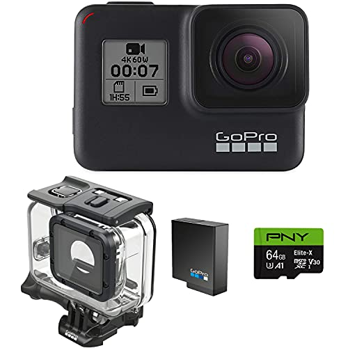 GoPro H7 Black + Extra Battery + Super Suit Dive Housing Case + 64GB SD Card- E-Com Packaging - Waterproof Digital Action Camera with Touch Screen 4K...