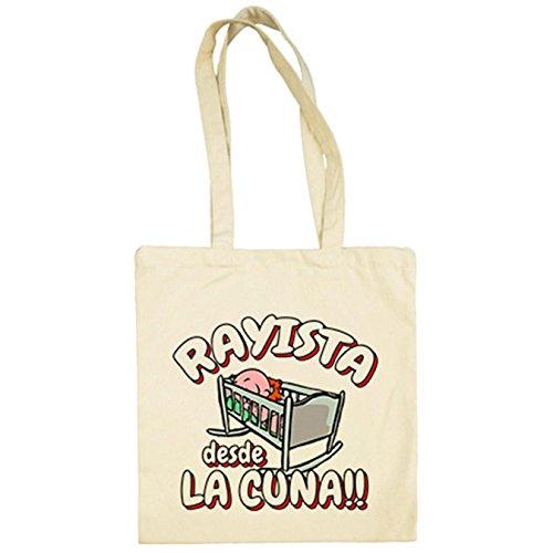 Diver Camisetas Bolsa de tela Rayista desde la cuna Rayo Vallecano fútbol - Beige, 38 x 42 cm