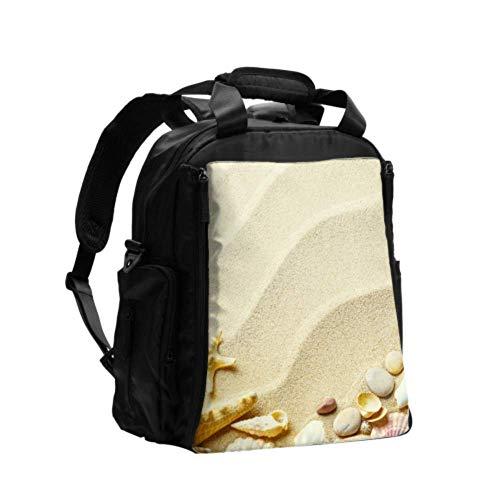 Ausgefallene Wickeltasche Rucksack Strand Sand Muscheln Seestern Rucksack Wickeltaschen Multifunktions-Reiserucksack mit Windel Wickelunterlage für die Babypflege