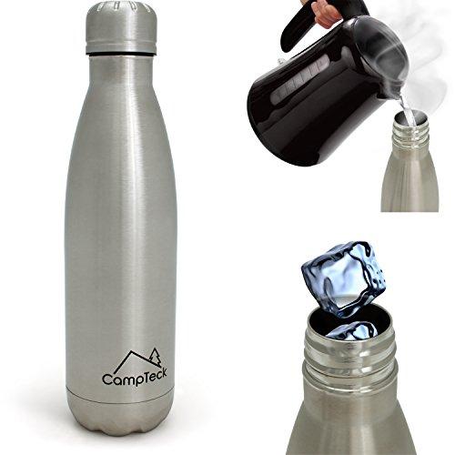 CampTeck U5009 500ml Bottiglia di Acqua Termica Acciaio Inox Doppia Parete Isolata Bevande Sport