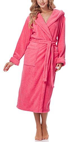 Merry Style Peignoir de Bain avec Capuche Robe de Chambre Femme 5L1 (Corail, XXL)