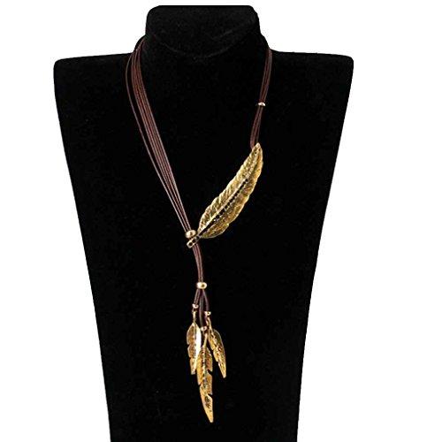 Bobury Retro Multi Layers Leaves Necklace Rhinestones Collar de cuero Long Tassel Women Necklaces