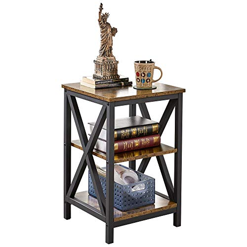 Yaheetech 3-Tiers Industrial Side Table Bedside Table X-Frame End Table Nightstand Storage with Shelf for Living room, Bedroom, 39.5 x 39.5 x 61 cm Rustic Brown
