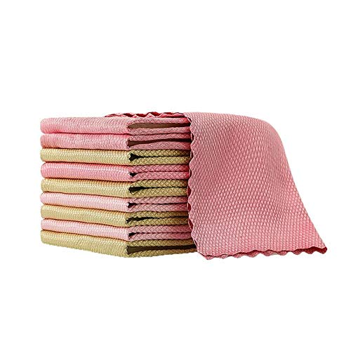 5PCS Fish Scale Rag, Wipe Glass Towels And Rags Absorb Water Wipe Glass Fish Scale Cloth for Cleaning Mirrors, Glass, Dish, Screens Random Color (30 * 40cm)
