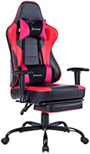 VON RACER Massage Gaming Chair Racing Office Chair - Adjustable Massage Lumbar Cushion, Retractable Footrest and Arms High Back Ergonomic Leather Computer Desk Chair, Red/Black